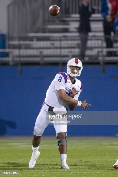 Louisiana Tech Bulldogs quarterback J'Mar Smith throws a pass during the DXL Frisco Bowl game between the Louisiana Tech Bulldogs and SMU Mustangs on...