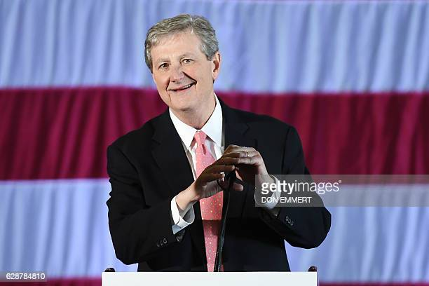Louisiana Treasurer and Republican Senate candidate John Kennedy speaks at a getoutthevote rally on December 9 2016 in Baton Rouge Louisiana US...
