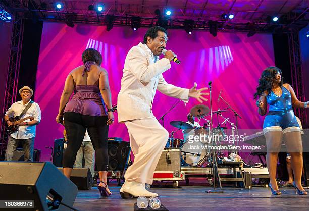 Louisiana-born Blues and R&B musician Bobby Rush performs with backup singers and dancers Loretta Wilson and Shakula Powell at the 30th Annual Roots...
