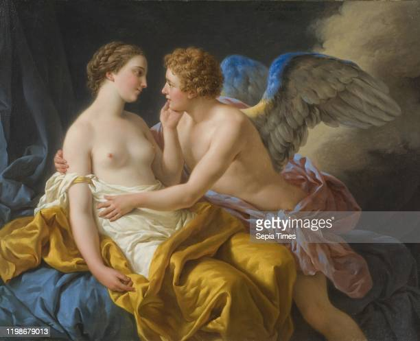 Louis-Jean-Francois Lagrenee, Cupid and Psyche, Amor and Psyche, painting oil on canvas, Height, 55 cm , Width, 71 cm , Signed, L. Lagrenee 1767.