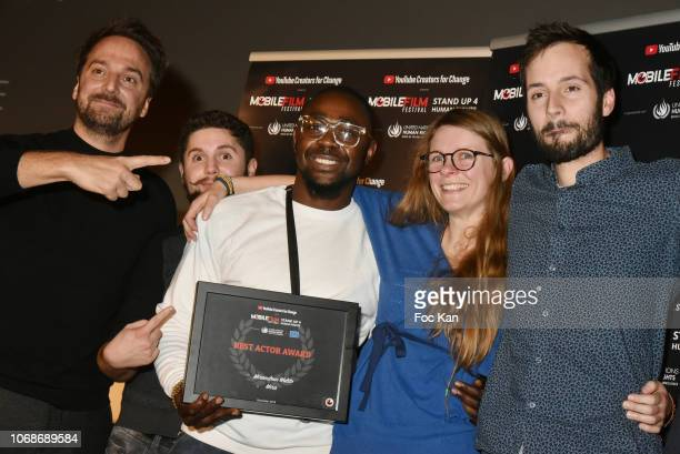 LouisJulien Petit Miraculeux Stephano and memebers of his team attend the 'Mobile Film Festival Stand Up 4 Human Rights Awards' Ceremony Hosted by...