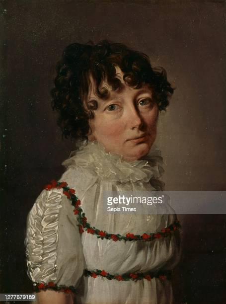 Louis-Léopold Boilly, Portrait of Sarah Bowdoin, ca. 1806-1808, oil on canvas, 8 9/16 in. X 6 9/16 in. , This winsome, wistful portrait of the wife...