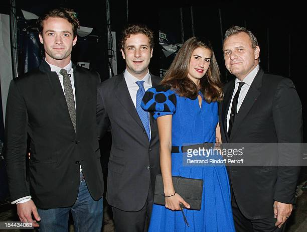 LouisMarie de Castelbajac PaulCharles Ricard his wife Alice Ricard and fashion designer JeanCharles de Castelbajac attend 'Bal Jaune 2012' organized...