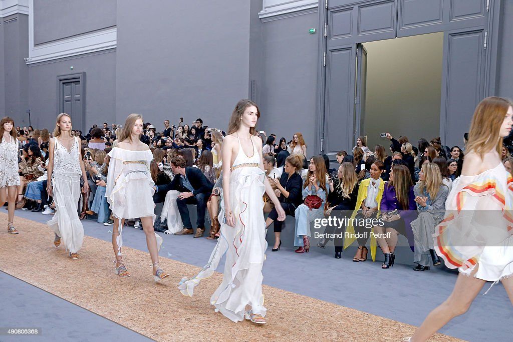 Louis-Marie de Castelbajac, Selah Sue, Flo Morissey, Dylan Frances Penn, Jada Pinkett Smith, Guest and Angela Lindvall attend the Chloe show as part of the Paris Fashion Week Womenswear Spring/Summer 2016. Held at Grand Palais on October 1, 2015 in Paris, France.