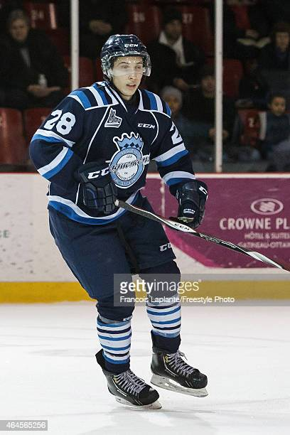 Louis-Philippe Simard of the Chicoutimi Sagueneens skates against the Gatineau Olympiques during a game on February 20, 2015 at Robert Guertin Arena...