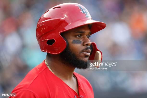 Louisville Bats center fielder Phillip Ervin looks on during a regular season game between the Louisville Bats and the Toledo Mud Hens on June 15,...
