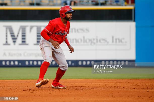 Louisville Bats left fielder Narciso Crook gets a lead off of second base during a regular season game between the Louisville Bats and the Toledo Mud...