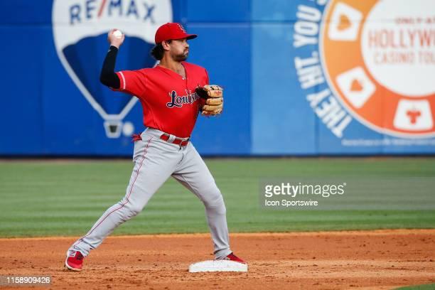 Louisville Bats second baseman Alex Blandino throws the ball to first base for a putout during a regular season game between the Louisville Bats and...