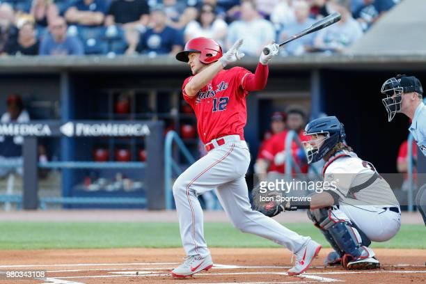 Louisville Bats shortstop Nick Senzel at bat during a regular season game between the Louisville Bats and the Toledo Mud Hens on June 16, 2018 at...