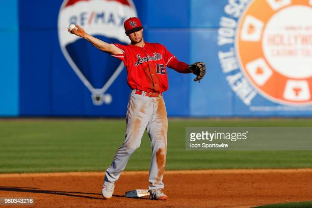 Louisville Bats shortstop Nick Senzel thows the ball during a regular season game between the Louisville Bats and the Toledo Mud Hens on June 16,...