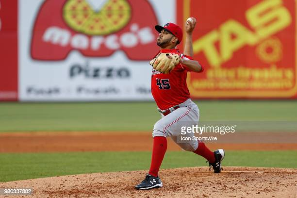 Louisville Bats starting pitcher Jose Lopez delivers a pitch during a regular season game between the Louisville Bats and the Toledo Mud Hens on June...
