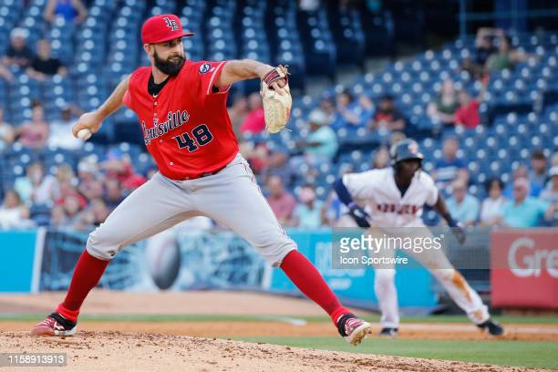 Louisville Bats starting pitcher Tejay Antone delivers a pitch during a regular season game between the Louisville Bats and the Toledo Mud Hens on...