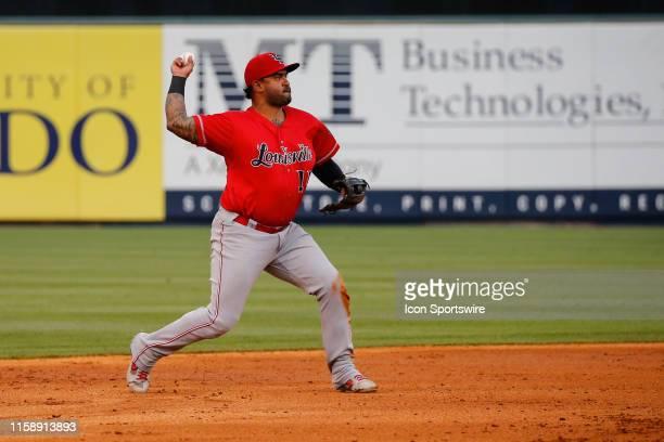 Louisville Bats third baseman Christian Colon throws the ball to first base for a putout during a regular season game between the Louisville Bats and...