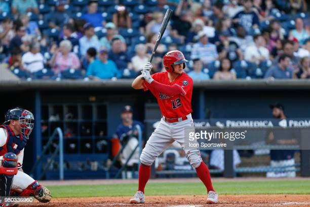 Louisville Bats third baseman Nick Senzel at bat during a regular season game between the Louisville Bats and the Toledo Mud Hens on June 15, 2018 at...