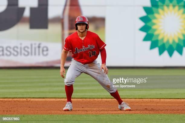 Louisville Bats third baseman Nick Senzel gets a lead off of second base during a regular season game between the Louisville Bats and the Toledo Mud...