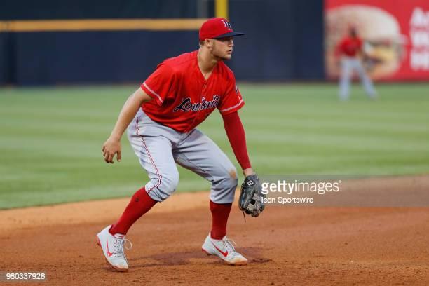 Louisville Bats third baseman Nick Senzel waits for a play during a regular season game between the Louisville Bats and the Toledo Mud Hens on June...