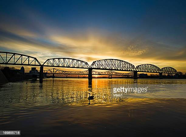 louisville bridges, ohio river - louisville kentucky stock pictures, royalty-free photos & images