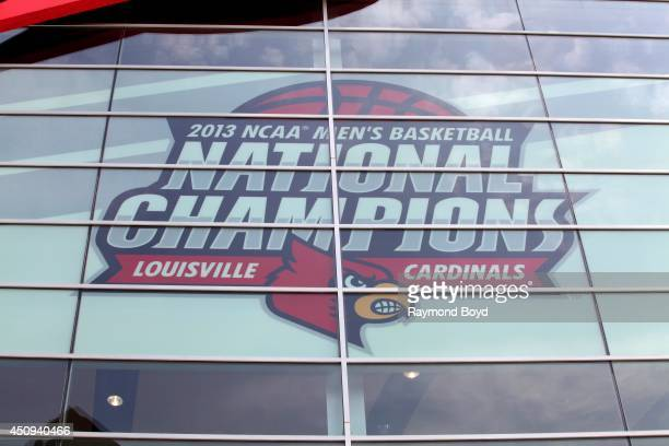 Louisville Cardinals 2013 NCAA Championship banner hangs inside KFC Yum Center home of the Louisville Cardinals basketball team on May 30 2014 in...