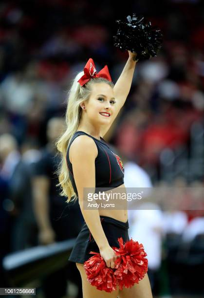Louisville Cardinals cheerleader performs in the game against the Southern Jaguars at KFC YUM Center on November 13 2018 in Louisville Kentucky