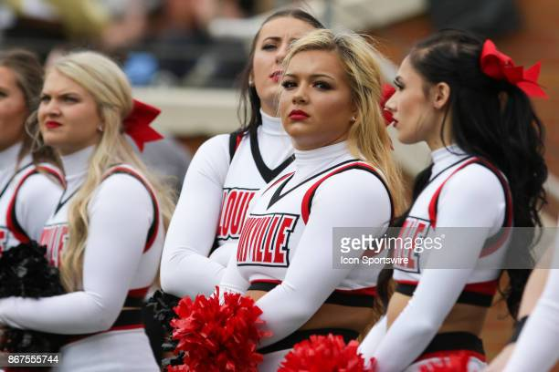 Louisville Cardinals cheerleaders on the sideline during the game against the Wake Forest Demon Deacons on October 28 2017 at BBT Field in...