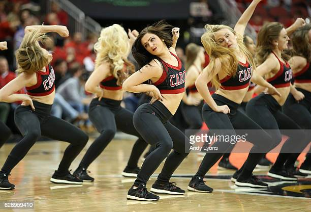 Louisville Cardinals cheerleaders perform during the game against the Texas Southern Tigers at KFC YUM Center on December 10 2016 in Louisville...