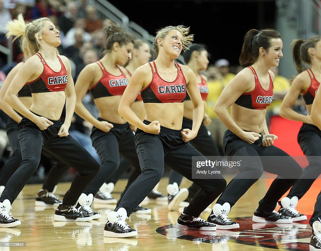 Louisville Cardinals dance team performs during the game against the St. John's Red Storm at KFC YUM! Center on February 14, 2013 in Louisville, Kentucky.