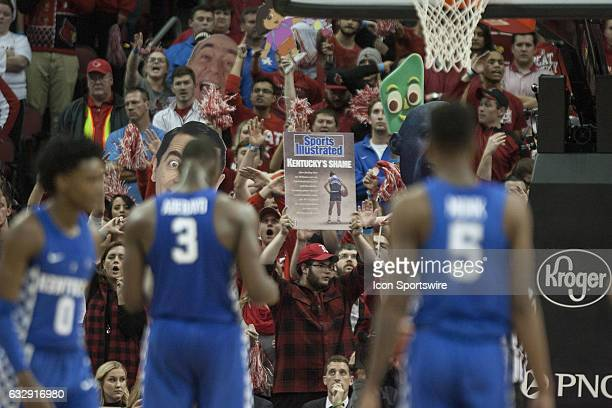 Louisville Cardinals fans try to distract Kentucky Wildcats forward Edrice Adebayo during a free throw shot in the second half on December 21 2016 at...