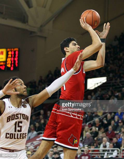 Louisville Cardinals forward Anas Mahmoud shoots over Boston College Eagles guard Ky Bowman during the second half of a college basketball game...