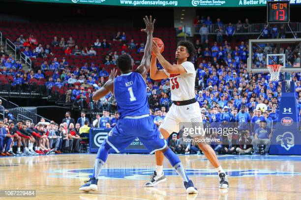 Louisville Cardinals forward Jordan Nwora during the first half of the College Basketball game between the Seton Hall Pirates and the Louisville...