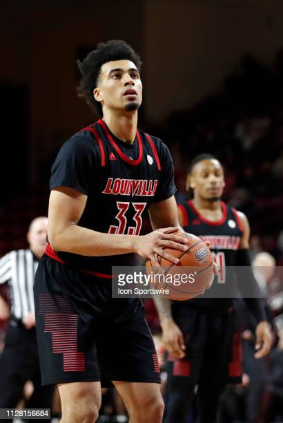 Louisville Cardinals forward Jordan Nwora eyes a free throw during a game between the Boston College Eagles and University of Louisville Cardinals on...
