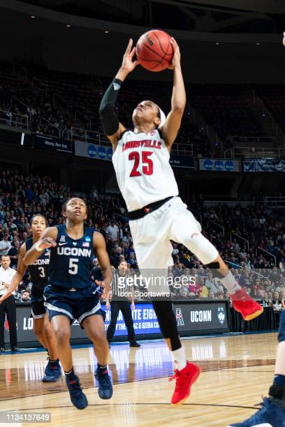 Louisville Cardinals Guard Asia Durr goes up for a layup during the second half of the game between the Connecticut Huskies and the Louisville...