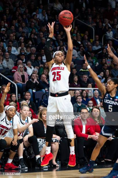 Louisville Cardinals Guard Asia Durr shoots a jump shot during the second half of the game between the Connecticut Huskies and the Louisville...