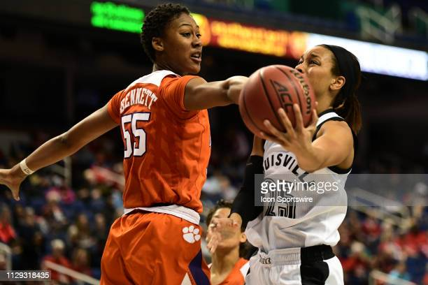 Louisville Cardinals guard Asia Durr shoots on a drive during the ACC Women's basketball tournament between the Louisville Cardinals and the Clemson...