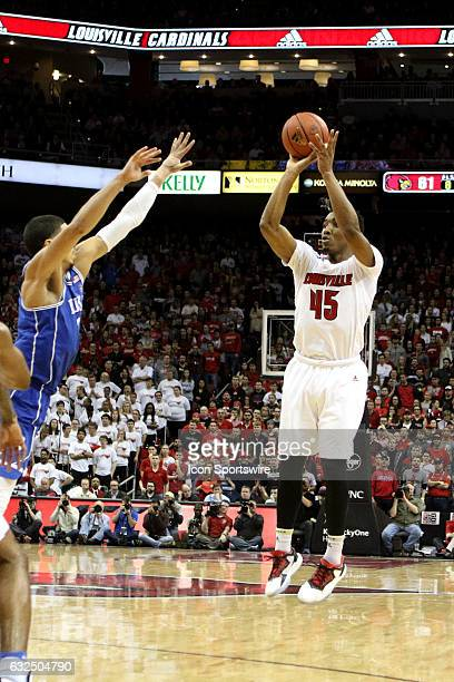 Louisville Cardinals guard Donovan Mitchell takes a 3 point shot in the second half on January 14 2017 at the KFC Yum Center in Louisville KY...