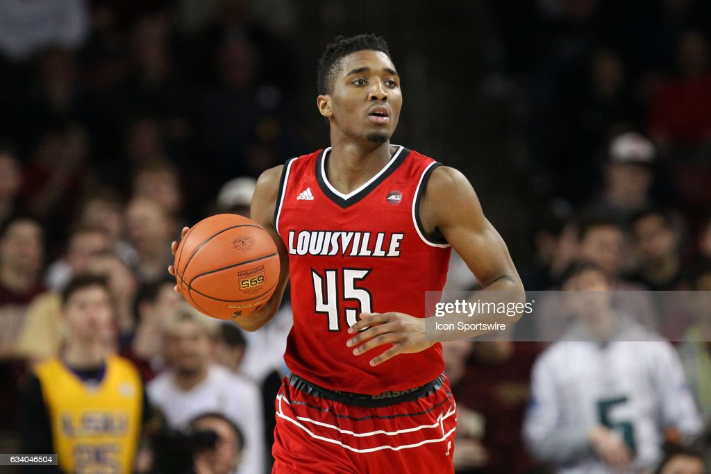 Louisville Cardinals guard Donovan Mitchell (45) with the ball during the second half of a college basketball game between Louisville Cardinals and Boston College Eagles on February 4, 2017, at Conte Forum in Chestnut Hill, MA. Louisville defeated Boston College 90-67.