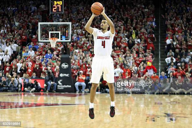 Louisville Cardinals guard Quentin Snider takes a 3 point shot in the second half on December 21 2016 at the KFC Yum Center in Louisville KY...