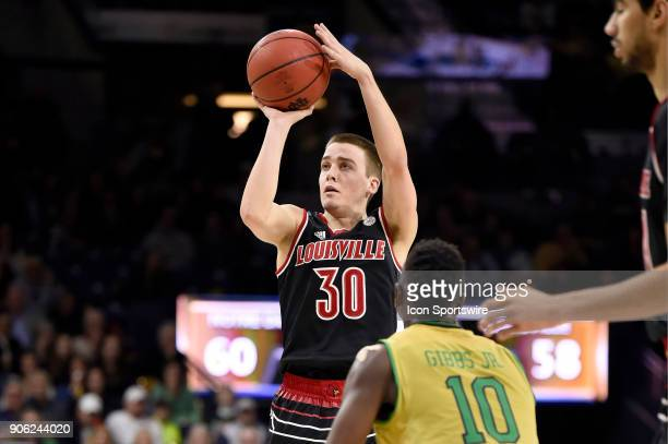 Louisville Cardinals guard Ryan McMahon shoots the basketball during the college basketball game between the Louisville Cardinals and the Notre Dame...