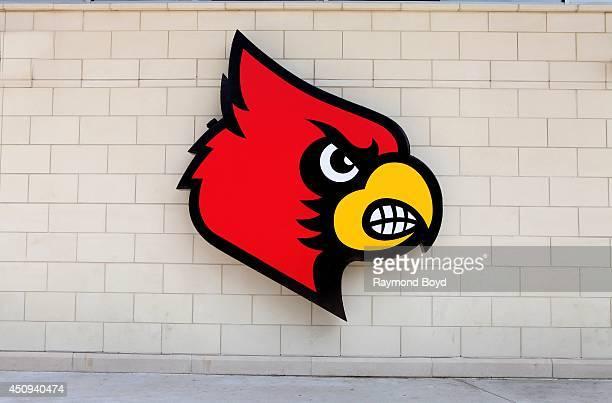 Louisville Cardinals logo at KFC Yum Center home of the Louisville Cardinals basketball team on May 30 2014 in Louisville Kentucky