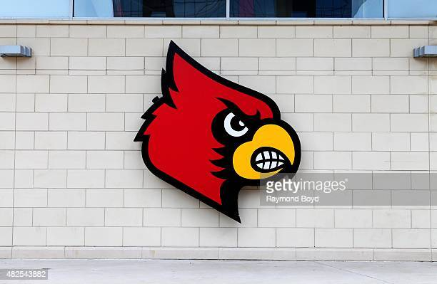 Louisville Cardinals logo at the KFC YUM Center home of the Louisville Cardinals basketball team on July 16 2015 in Louisville Kentucky