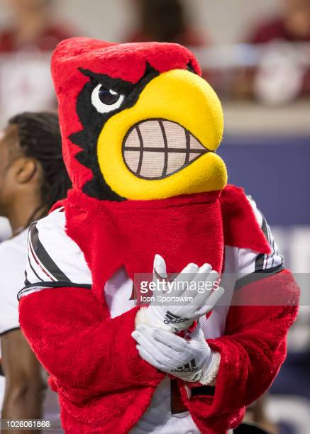Louisville Cardinals mascot during the football game between the Alabama Crimson Tide and Louisville Cardinal in the Camping World Kickoff on...