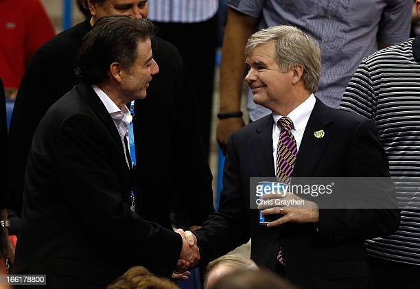 Louisville Cardinals men's head coach Rich Pitino shakes hands with NCAA President Mark Emmert prior to the 2013 NCAA Women's Final Four Championship...