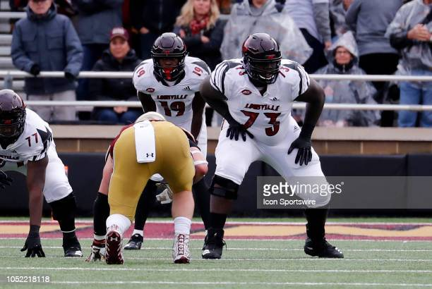 Louisville Cardinals offensive lineman Mekhi Becton during a game between the Boston College Eagles and the Louisville Cardinals on October 13 at...