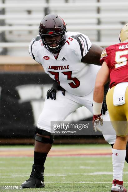 Louisville Cardinals offensive lineman Mekhi Becton gets set for a play during a game between the Boston College Eagles and the Louisville Cardinals...