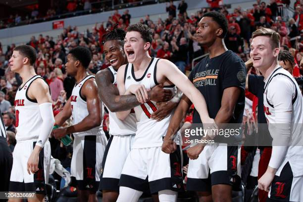 Louisville Cardinals players react from the bench in the second half of a game against the Wake Forest Demon Deacons at KFC YUM Center on February 5...