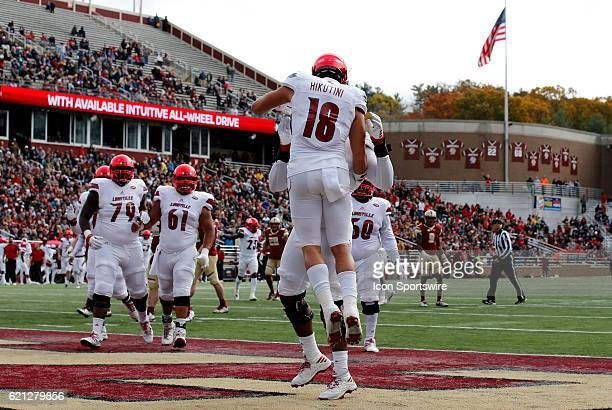 Louisville Cardinals tight end Cole Hikutini celebrates his touchdown reception on Saturday November 5 2016 at Alumni Stadium in Chestnut Hill...
