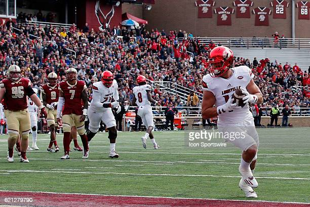 Louisville Cardinals tight end Cole Hikutini hits the end zone for six points on Saturday November 5 2016 at Alumni Stadium in Chestnut Hill...