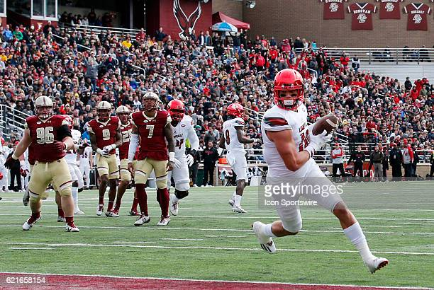 Louisville Cardinals tight end Cole Hikutini turns into the end zone after a reception during an ACC Division 1 NCAA football game between the...