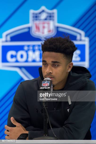 Louisville defensive back Jaire Alexander answers questions from the media during the NFL Scouting Combine on March 4 2018 at the Indiana Convention...