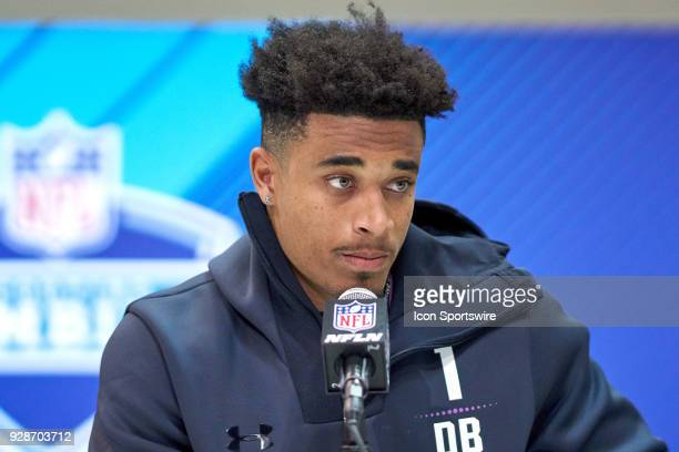 Louisville defensive back Jaire Alexander answers questions from the media during the NFL Scouting Combine on March 04 2018 at Lucas Oil Stadium in...