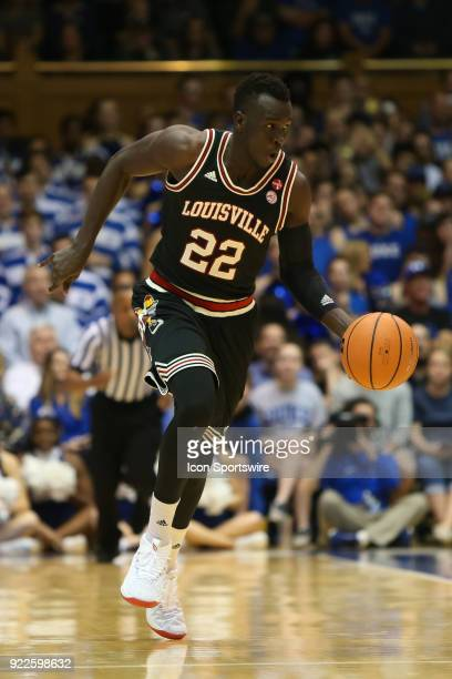 Louisville guard Deng Adel brings the ball up the court during the game between the Louisville Cardinals and the Duke Blue Devils at Cameron Indoor...